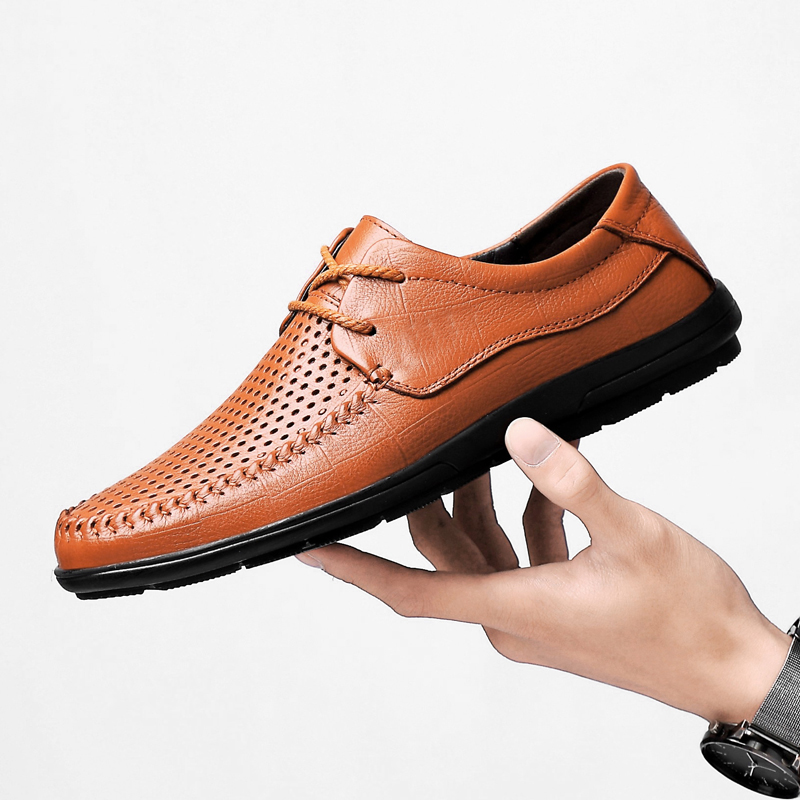 Brand 2019 Summer Big Size 37-46 Cow Leather Men Shoes Oxford Casual Classic Sneakers For Male Comfortable Business Formal Shoes