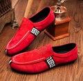2016 de Calidad Superior de Hombres Mocasines Mocasines Zapatos Zapatos de Cuero de Gamuza Pisos de los hombres Holgazanes Casuales Hombres Resbalón En Los Zapatos de Conducción Para hombres