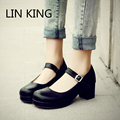 LIN KING Ladies Sweet Black Candy Color Womens Mary Janes Pumps Low Heel Lolita Bowknot Shoes For Women Princess Shoes Big Size