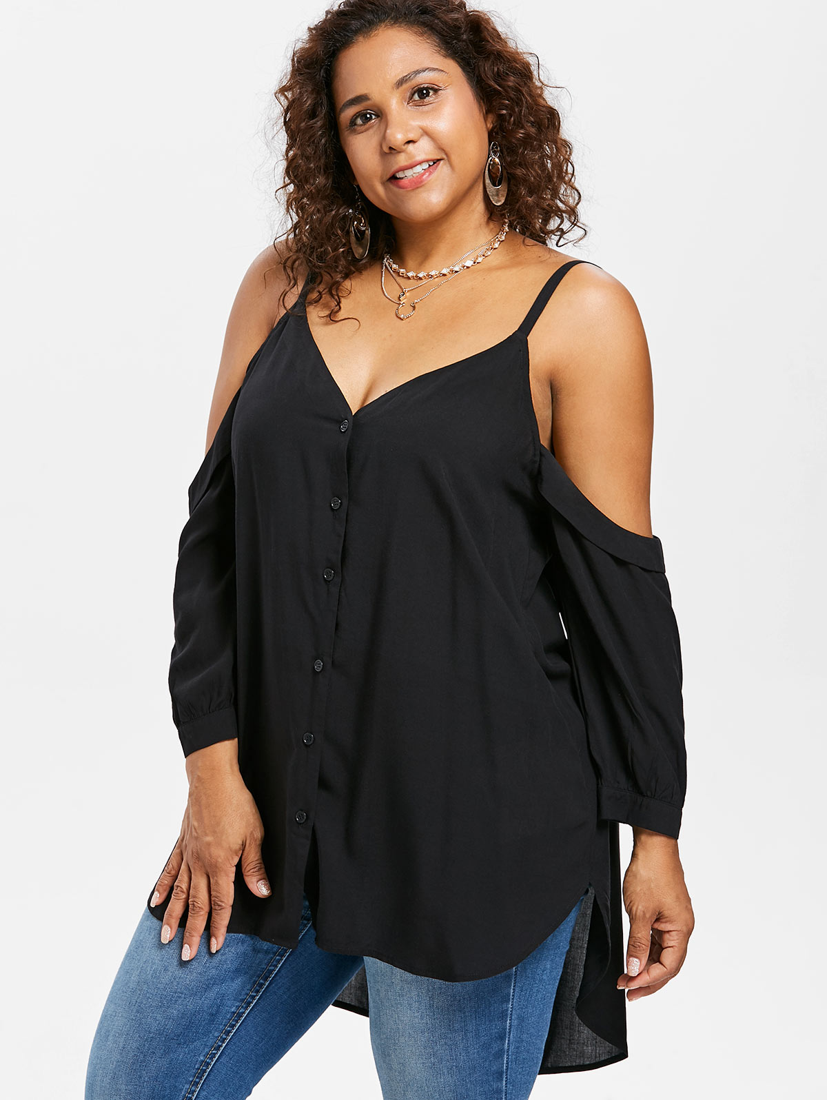 acb0475790a2f AZULINA Plus Size Button Up Cold Shoulder High Low Tunic Top Women T Shirt  Autumn Black V Neck Long Sleeve T Shirt Ladies Tops-in T-Shirts from Women s  ...