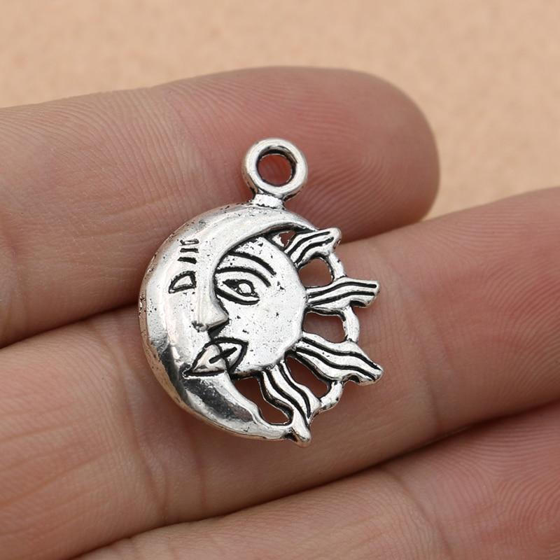 Free Ship 10Pcs Antique Silver Sun Moon Charm Pendant Jewelry Findings 27x20mm