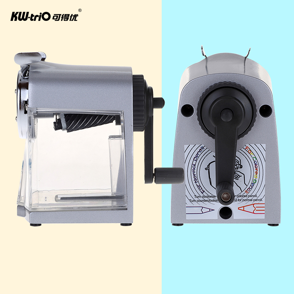 Image 3 - Manual Pencil Sharpener Handheld Operation Transparent Receptacle Helical Cutter Stationary for School Office Home-in Pencil Sharpeners from Office & School Supplies