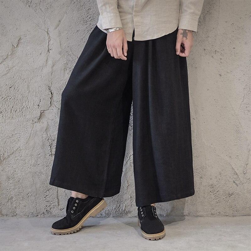 Herren Japanischen Boho Hip Hop Baumwolle Mischung Hosen Lose Beiläufige Hosen Sz Breite Bein