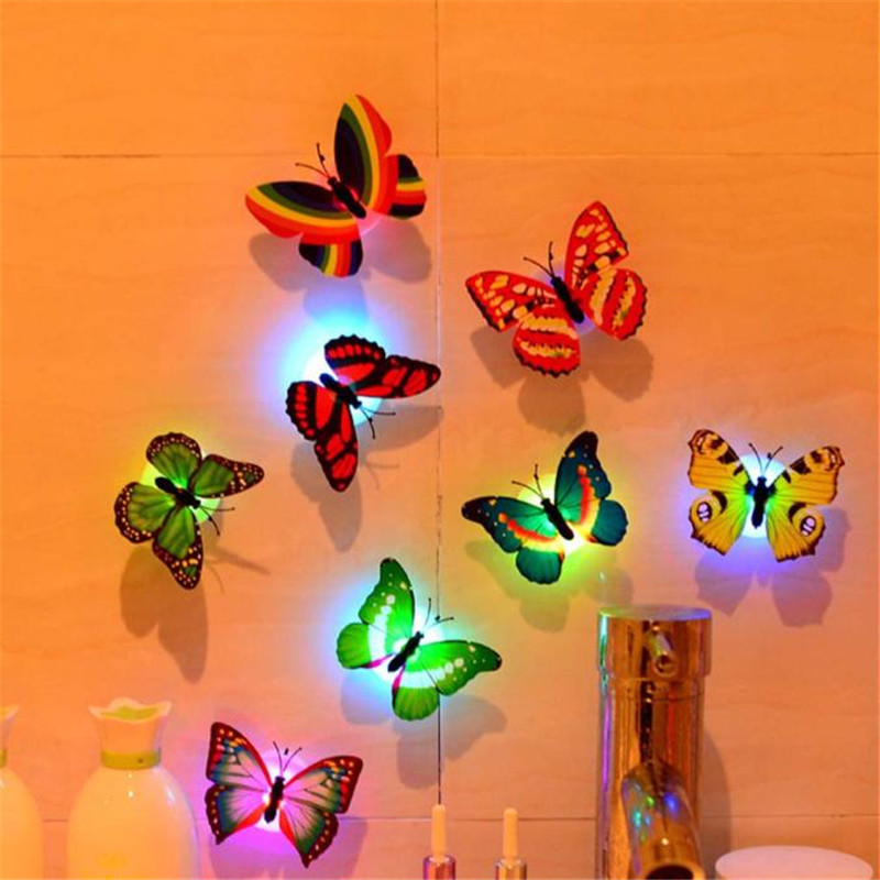 Colorful Changing Butterfly LED Night Light Lamp Home Room Party Desk Wall Decor 7 Different Colors-auto-change Lights For Child