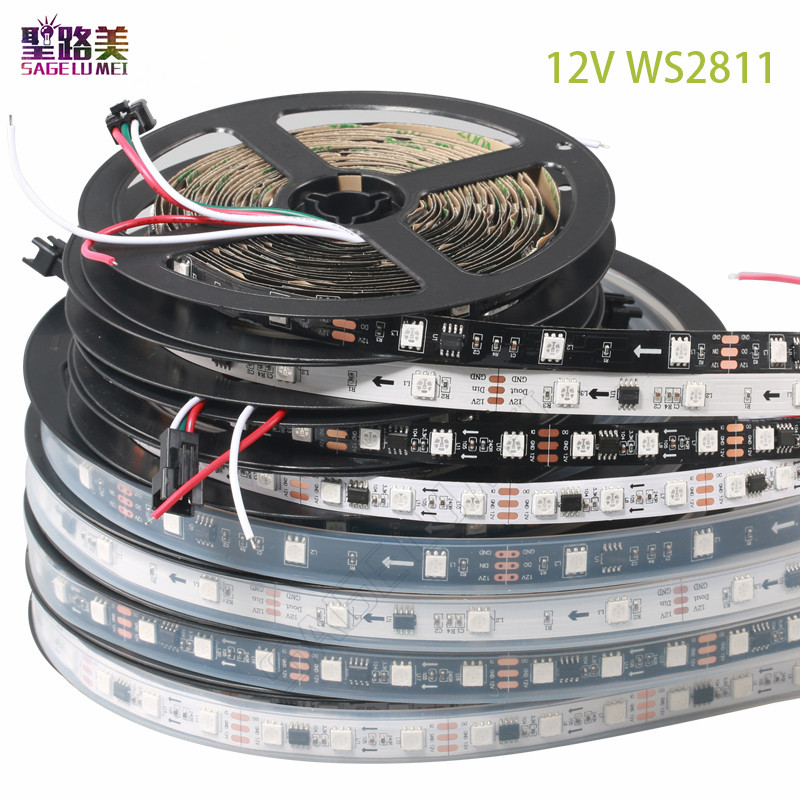 best price 5m roll DC12V ws2811 5050 SMD RGB dream addressable Digital 1 ic control 3 led external ic ws2811 led pixels strip in LED Strips from Lights Lighting