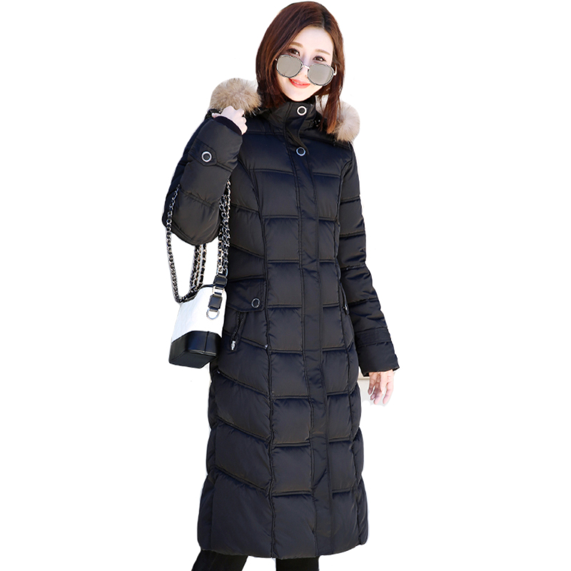 2019 High Quality Women Long Down Coat With Fur Collar Hooded Long Female Jacket Outwear Warm Parka Abrigos Mujer Invierno