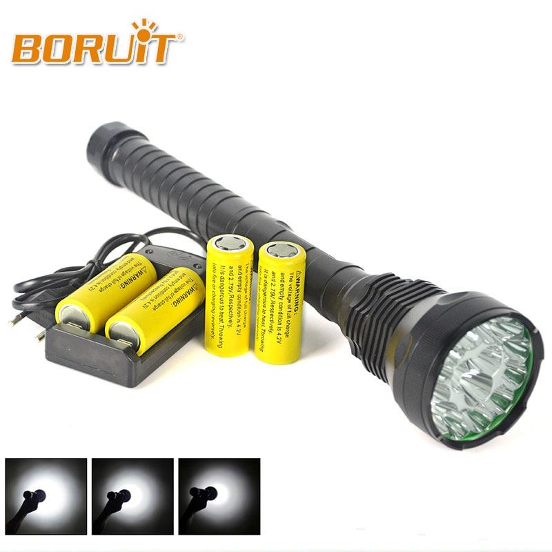 BORUIT Tactical 15x XM-L T6 LED Flashlight 18000 Lumen Super Bright LED Torch Light Hunting Lantern 15T6+4x26650 Battery+Charger