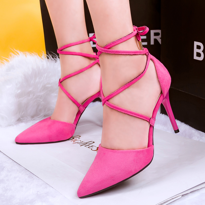 2017 Summer Fashion Hot Selling High Heel Pumps Elegant Grey Pink Beige Suede Lace Up Pointed Toe Cross Strap Wrapped Heel Shoes цена