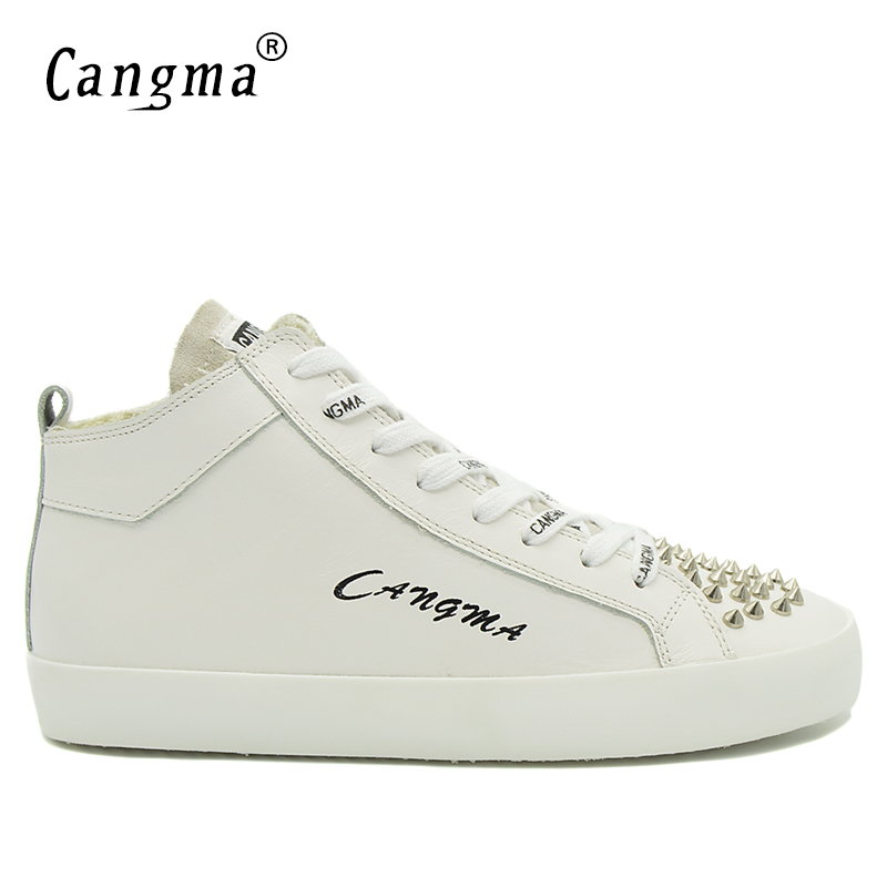 CANGMA Marque Durable Man's Shoes Rivets Lace Up Scarpe Casual Shoes Mid Genuine Leather White Sneakers Men Flats Footwear Male cangma original newest woman s shoes mid fashion autumn brown genuine leather sneakers women deluxe casual shoes lady flats