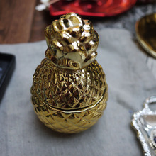 Export USA gold pineapple 3D texture cute little jar / fragrance candle DIY container storage jewelry