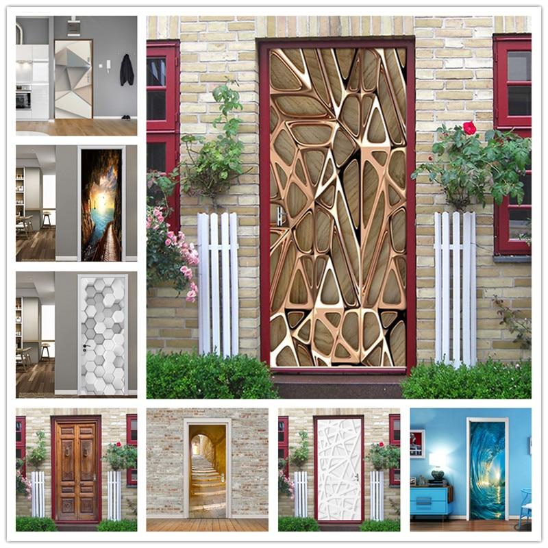 Geometric Lines Stickers On Doors DIY Self-adhesive Sticker Door Decorating Waterproof Wallpaper Home Design Decals Deursticker