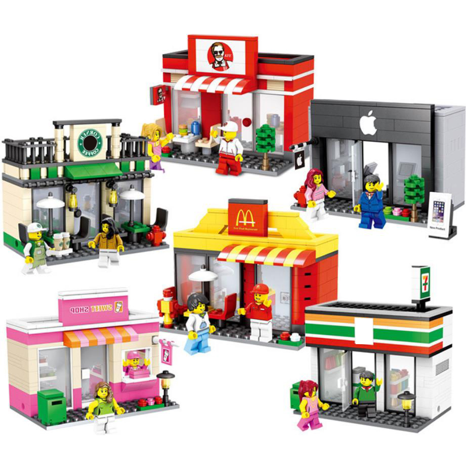 City street view candy star coffee shop Mcdonalds restaurant Convenience apple store stack block figures bricks toys collectionCity street view candy star coffee shop Mcdonalds restaurant Convenience apple store stack block figures bricks toys collection