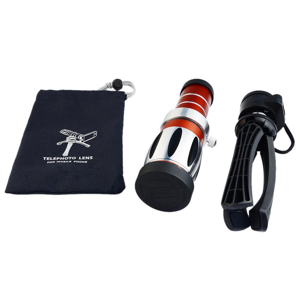 Handy universal 20x camera zoom optische teleskop aluminium teleobjektiv kit + stativ für iphone5 6 samsung htc blackberry - 5