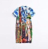 2018 Runway Dresses Summer Humen Fox Print Short Sleeves High Quality Loose Women's Dress Vestidos De Festa 1308