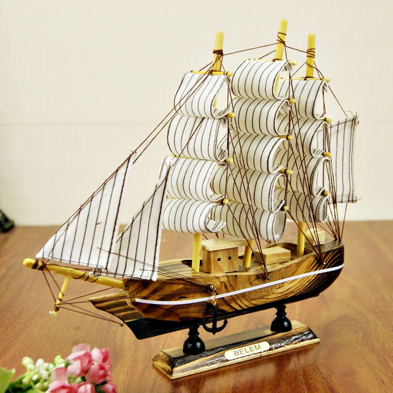 Boat Home Decor: Wooden Ship Craft Sailing Boat Wood Sailboat Model