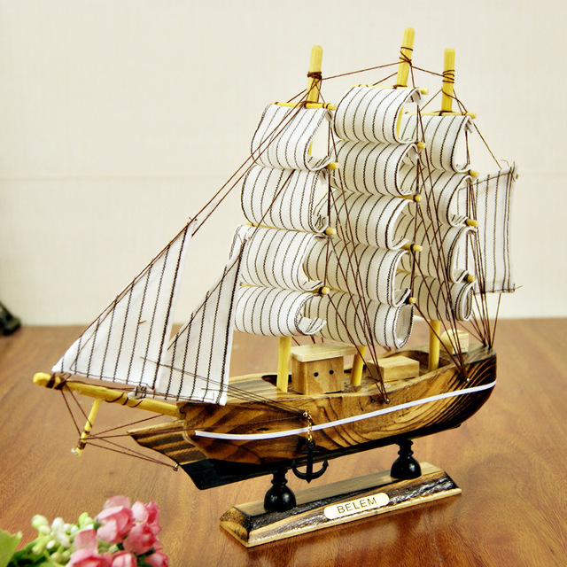 24cm Wooden Ship Craft Sailing Boat Wood Sailboat Model Nautical Pure Manual Decoration Home Decor