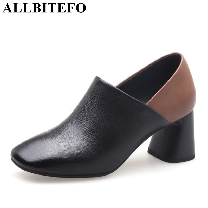 ALLBITEFO square toe genuine leather thick heel women pumps fashion mixed colors spring high heel shoes girls leisure high heels allbitefo fashion brand genuine leather thick heel women pumps new spring pointed toe high heels ladies shoes sapatos femininos
