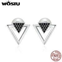 WOSTU 원래 패션 100% 925 스털링 실버 프리 스타일 삼각형 스터드