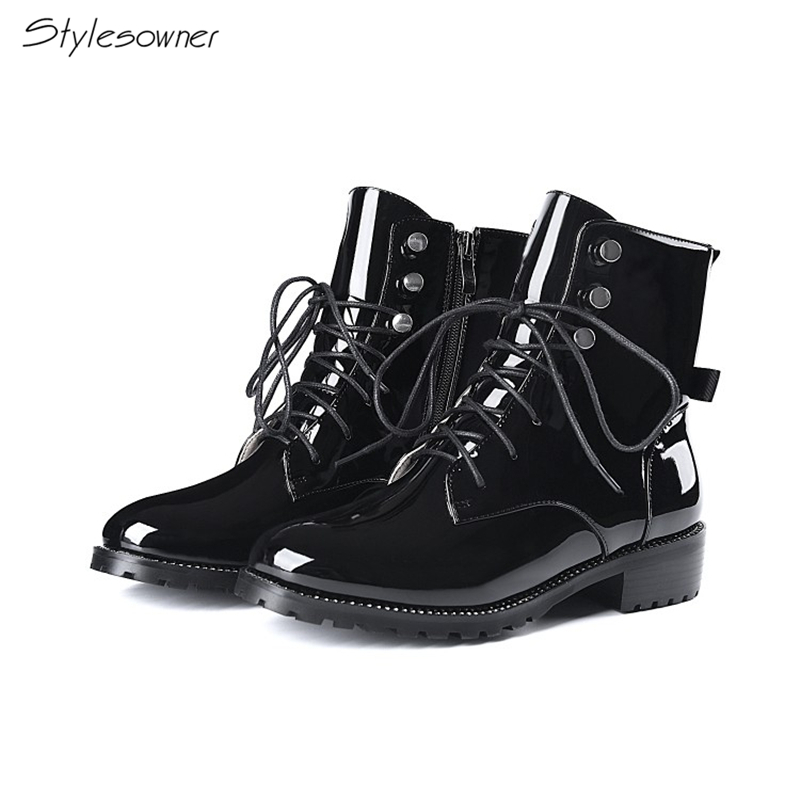 Stylesowner Genuine Patent Leather Short Boots Women Laces Zipper Fashion Boots Winter Plush Warm Short Boots Round Toe Shoes
