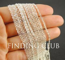 Free Shipping factory 5M(16ft) 2mm Silver Brass Flat Cable Chain DIY Jewelry Necklace Findings Soldered C02