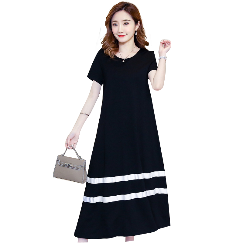 a08b5567bca7d Detail Feedback Questions about Pengpious 2018 pregnant women summer dress  Korean style long loose short sleeve black patchwork white mid calf  maternity ...