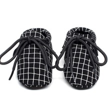 New plaid lace up Baby Shoes genuine Leather Baby