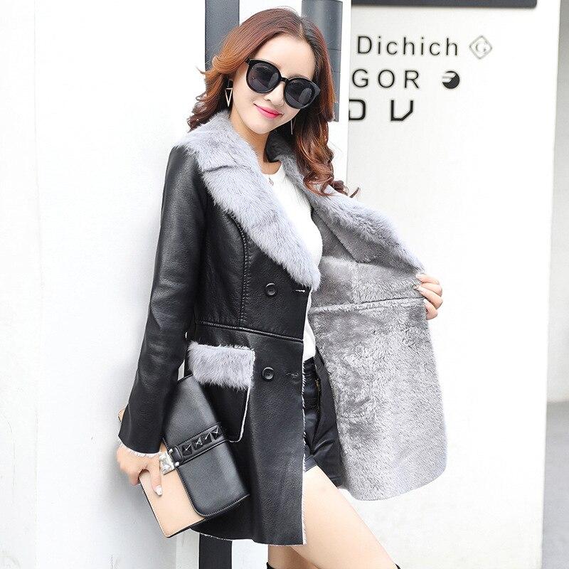 Windbreaker Women Fashion Fall PU coat 2018 Korean stitching locomotive Slim winter fur Faux   Leather   Parkas Padded Jacket XXL