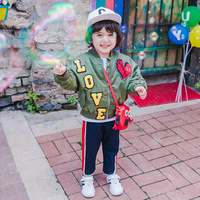 Spring Autumn baby coat boys bomber jacket kids brand children blazer toddler outwear letter love panel olive 2 to 9 yrs