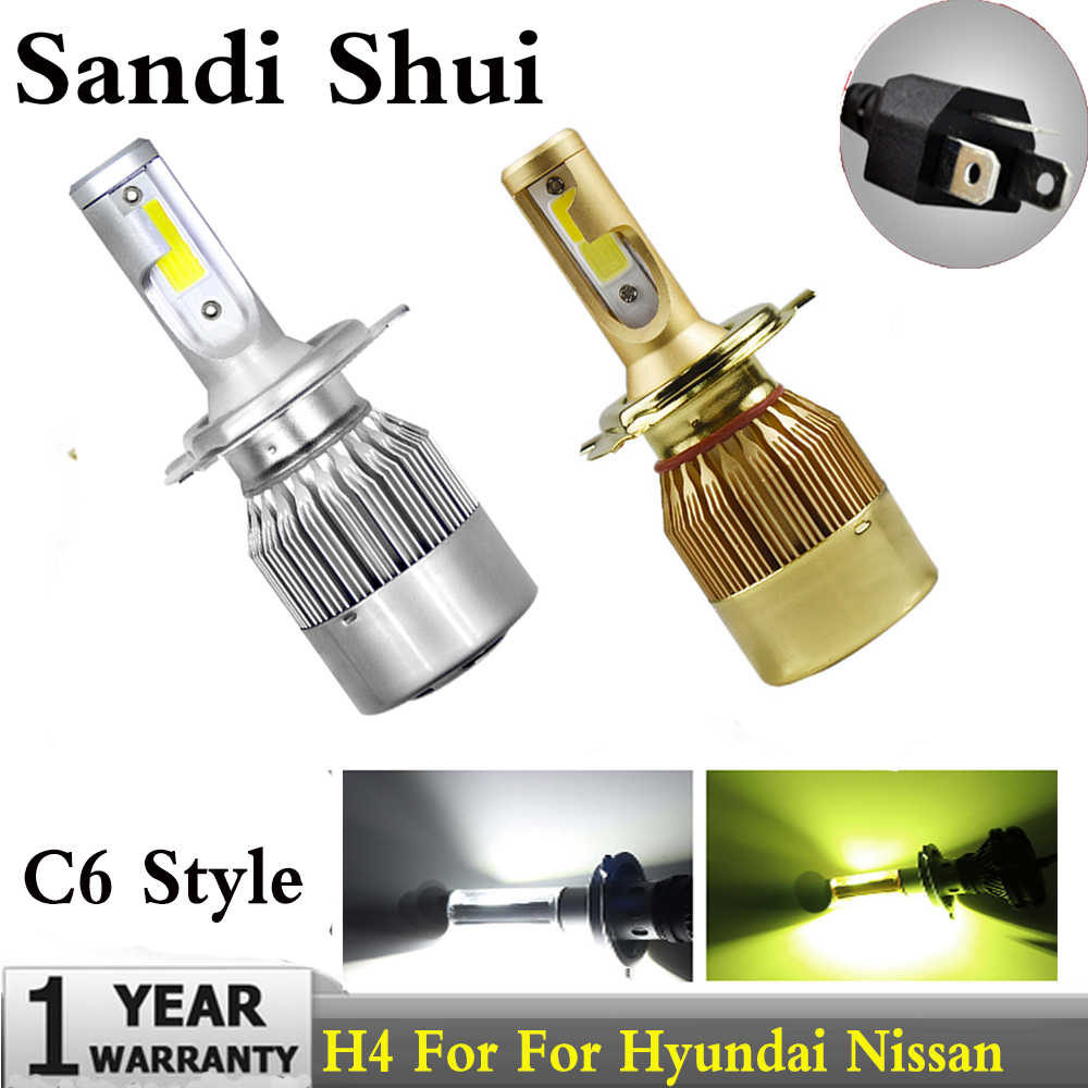 Car LED H4 HB2 9003 LED Headlight Bulbs High Low Beam Lights 60W 6000LM For Hyundai Nissan Kia Chevrolet Cube Rio Aveo Aveo5