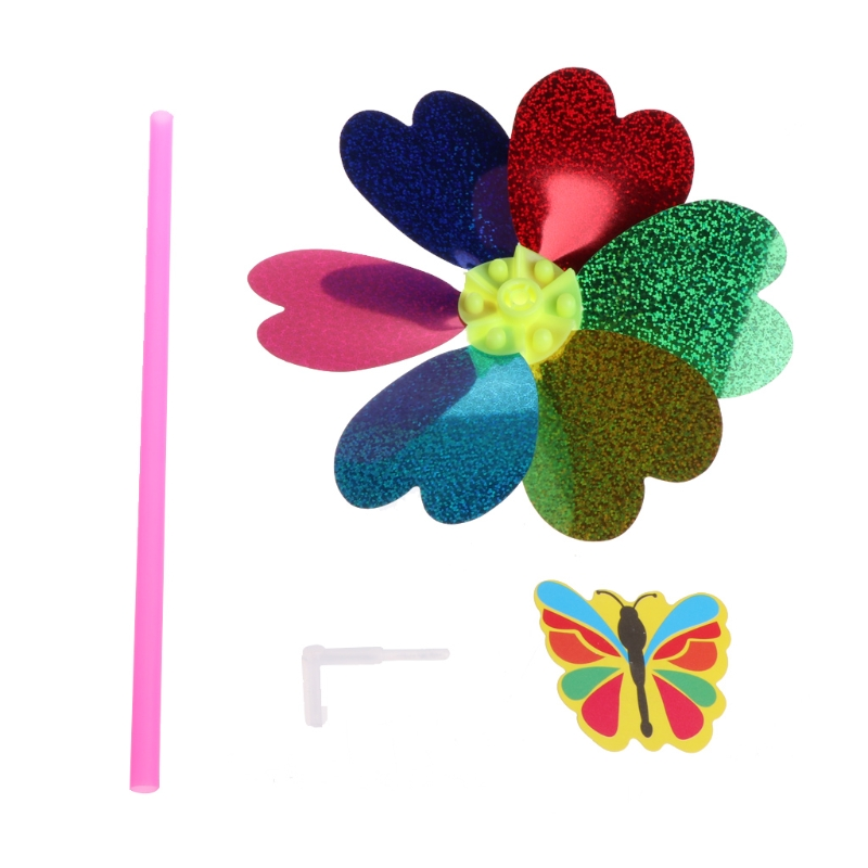 Colorful Sequins Cartoon Insect Flower Windmill Kid Toy Home Garden Decoration 1