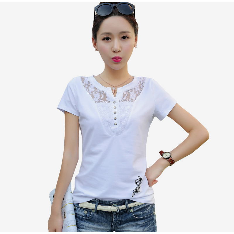 Women's Short Sleeve Lace Patchwork T-Shirt Print Office Lady Casual Women T-Shirts Plus Size 3XL 2019 Summer Tees Tops Female 7