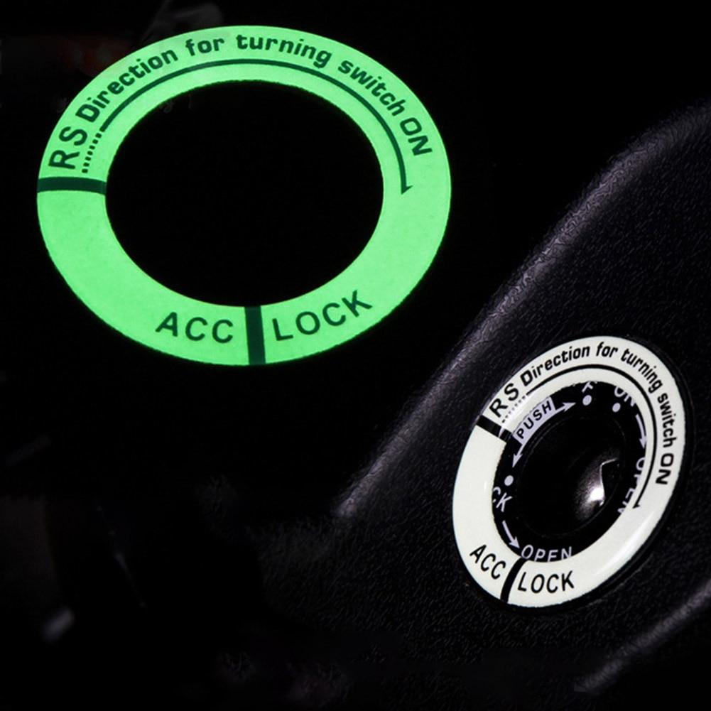 Светящаяся 3d-наклейка на кольцо для ключей, светящаяся наклейка на зажигание, крышка переключателя, Стайлинг автомобиля, круглый светильни...