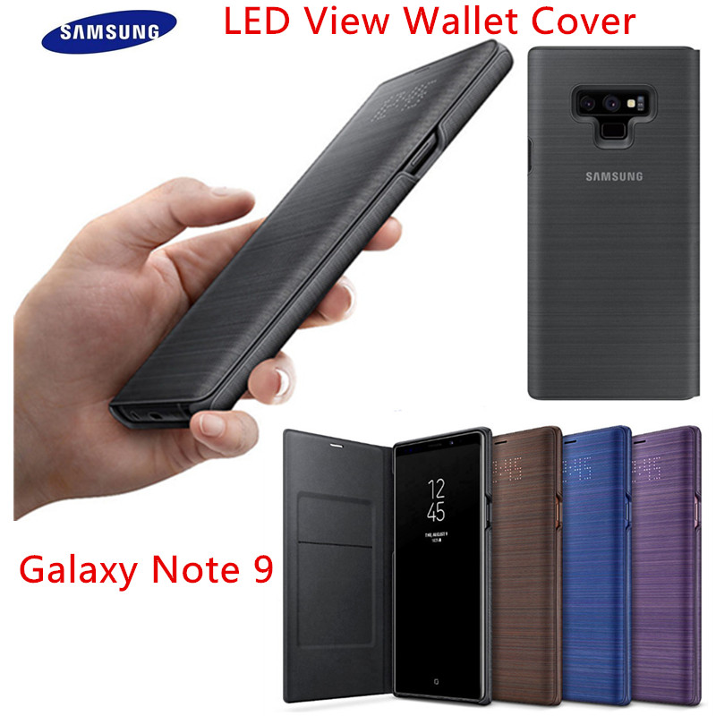 size 40 de5cb d68f1 100% Official Genuine Samsung Galaxy Note 9 LED View Flip Case Cover  EF-NN960 SM-N9600 Card Wallet Cover Anti-knock Black Brown