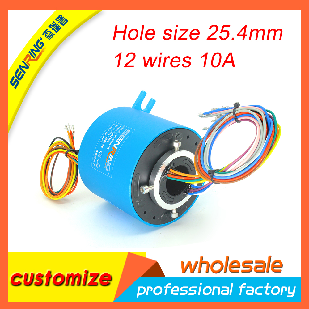 Electrical SENRING slip ring compact 12 circuits 10A 25 4mm bore size for through hole slip