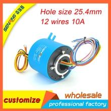 Anel coletor SENRING elétrico compacto 12 circuitos 10A 25.4mm tamanho de furo para através do anel buraco deslizamento