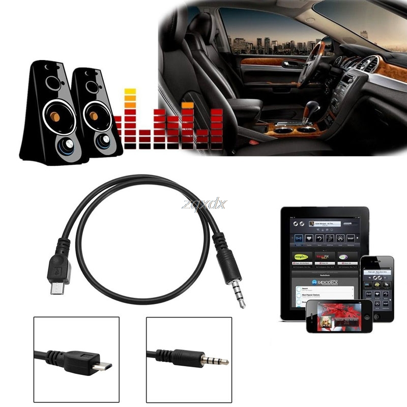 Micro USB Male to Stereo 3.5mm Male Car AUX Out 50cm Cable For Samsung For Huawei For LG Z09 Drop ship
