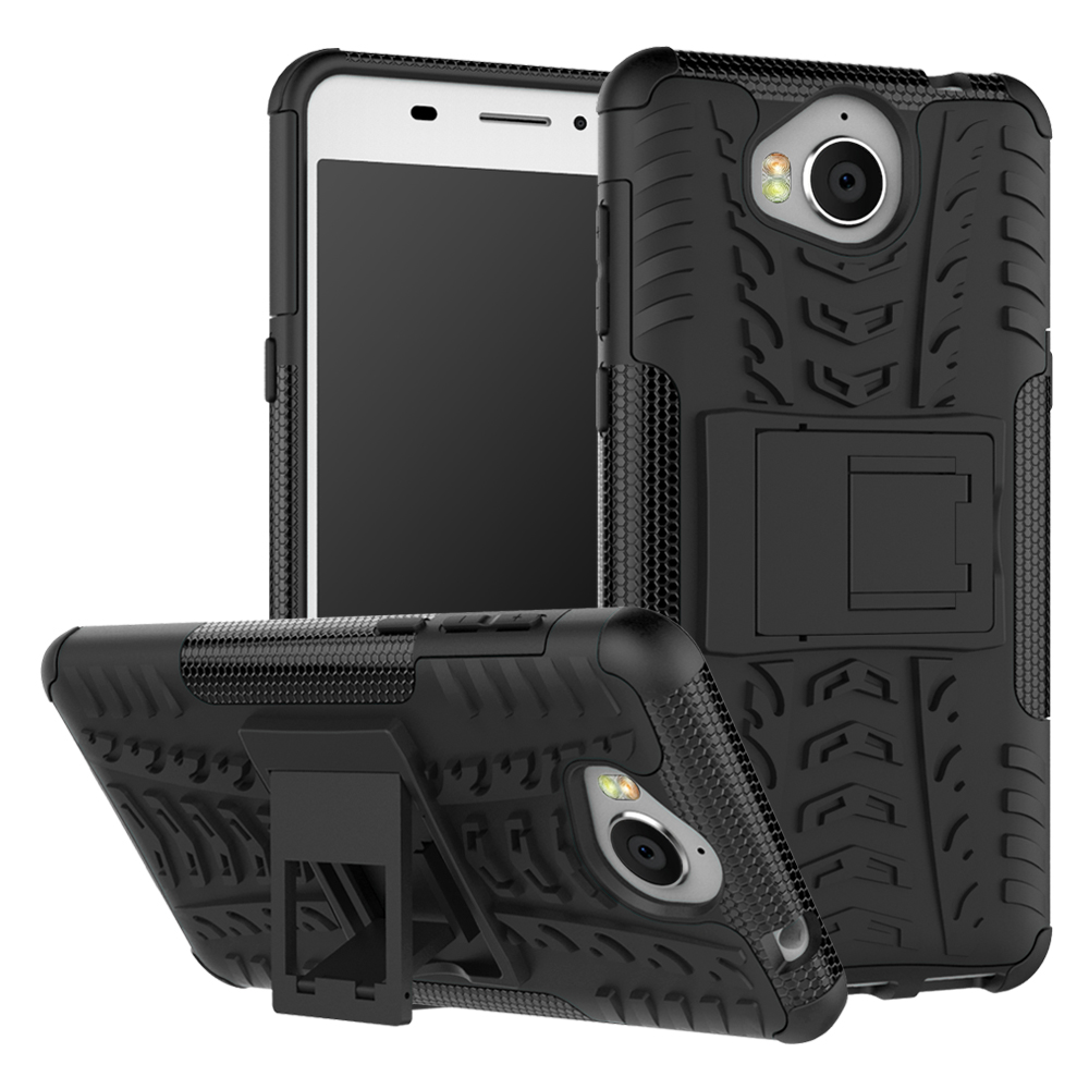 Hevry Tough Rugged Dual Layer Heavy Duty Armor Case for Huawei Y5 2017 Y 5 2017 5.0 Heavy Duty Armor Tough Kickstand Case Cover