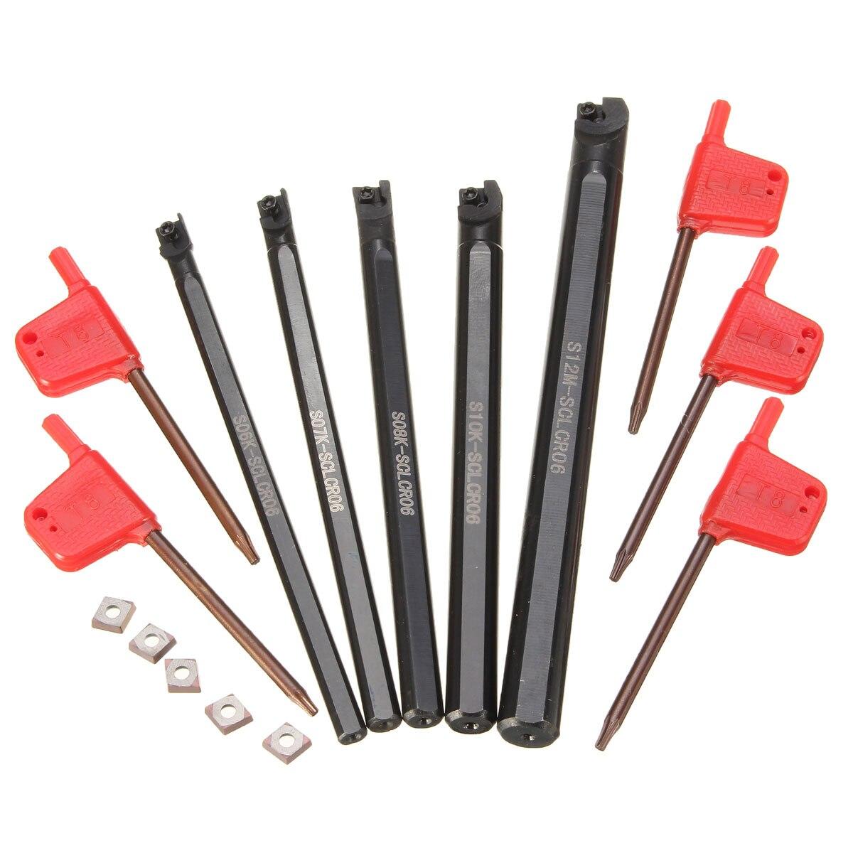 5 шт. расточные инструменты для туннелей SCLCR 6 7 8 10 12 мм с 5PcsCCMT0602 вставки 95 градусов правой руки лезвия вставки, токарный инструмент набор