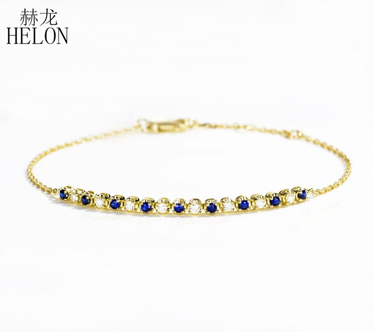 HELON Solid 18K 750 Yellow Gold Round SI/H 0.35ct 100% Genuine natural diamond & Sapphire Bracelet For Women Trendy Fine Jewelry helon solid 18k 750 rose gold 0 1ct f color lab grown moissanite diamond bracelet test positive for women trendy style jewelry