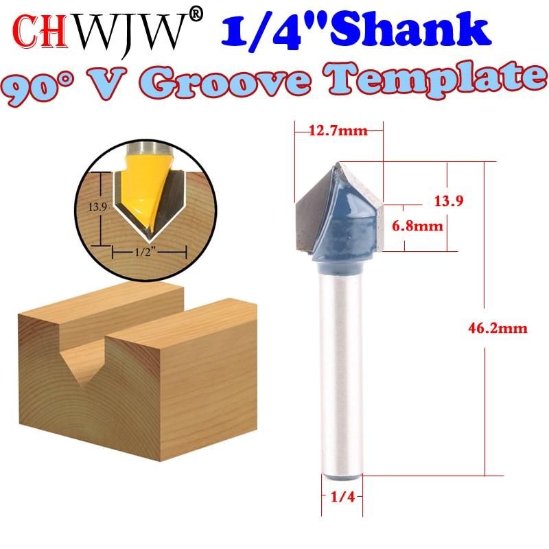 1pc 1/4 Shank 90 Degree V Groove Template V-Groove V Grooving Router Bit - 1/2x 14mm  - Chwjw razgrom ukrainskij vojsk v stepanovke chast 1