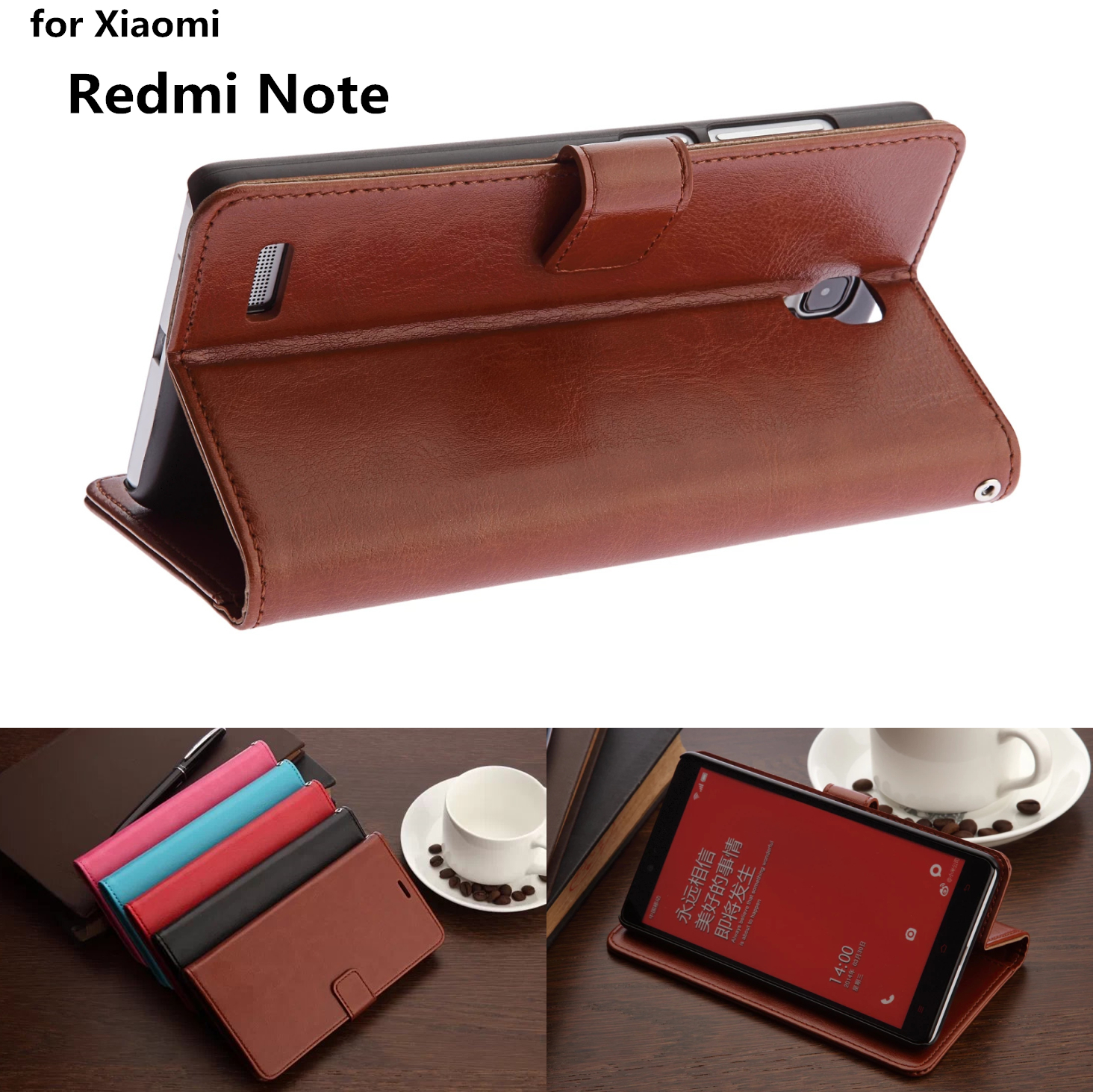 Xiaomi HM Note card holder cover case for Xiaomi Redmi Note 1 LTE 4G leather phone cas