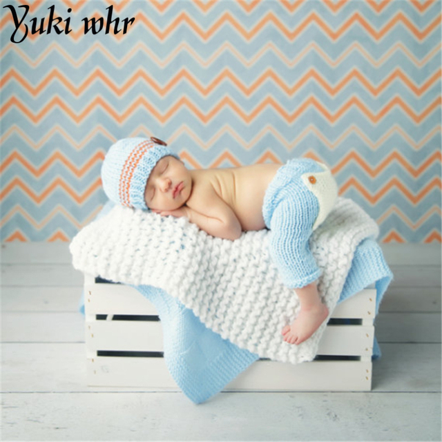 2017 new top sale newborn photography props 100 cotton baby caps and pants set 0