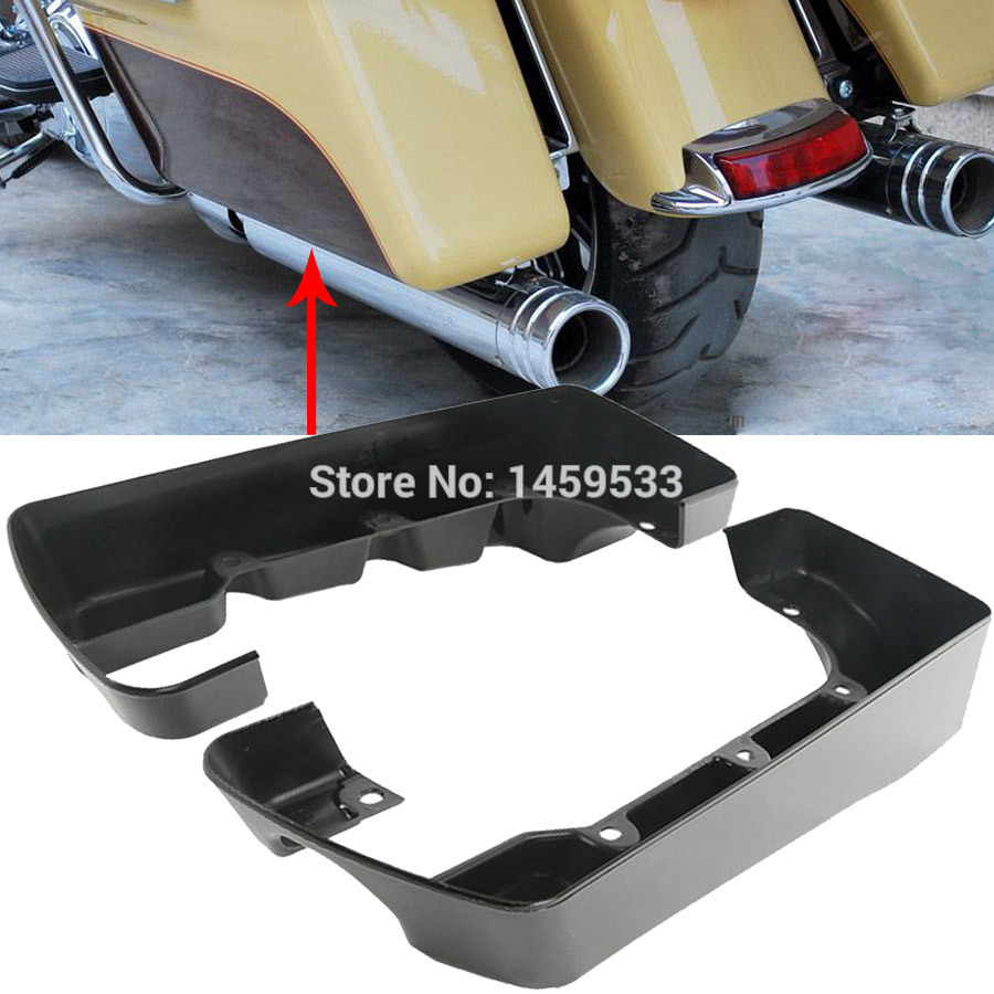 New Black 4 Hard Saddlebag ABS Extensions Kit Fits For Harley Touring Road Glide King Model 2004-2013 hard saddlebag lid led spoiler kit for harley touring electra street road glide