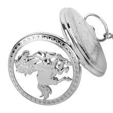 цена на Pocket Watch Relogio De Bolso Silver Horse Hollow Quartz Pocket Watch Necklace Pendant Womens Men GIfts