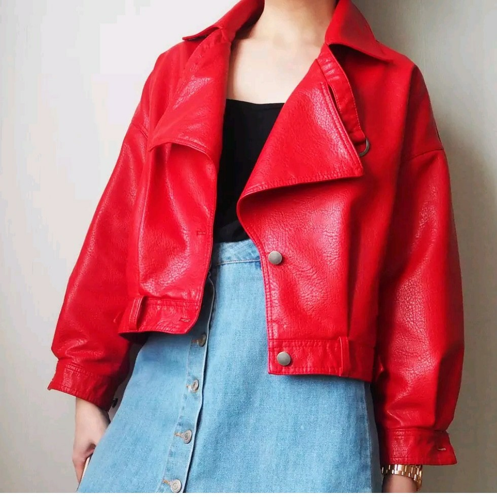 2018 New Fashion Women Casual Loose Soft Faux   Leather   Jackets Lady Boyfriend BF Free Style PU Batwing Sleeve Coats Streetwear