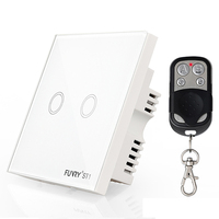 Funry Smart Remote Control Switch ST1 2Gang UK Standard 170V 240V RF433MHz Luxury Glass Panel Led