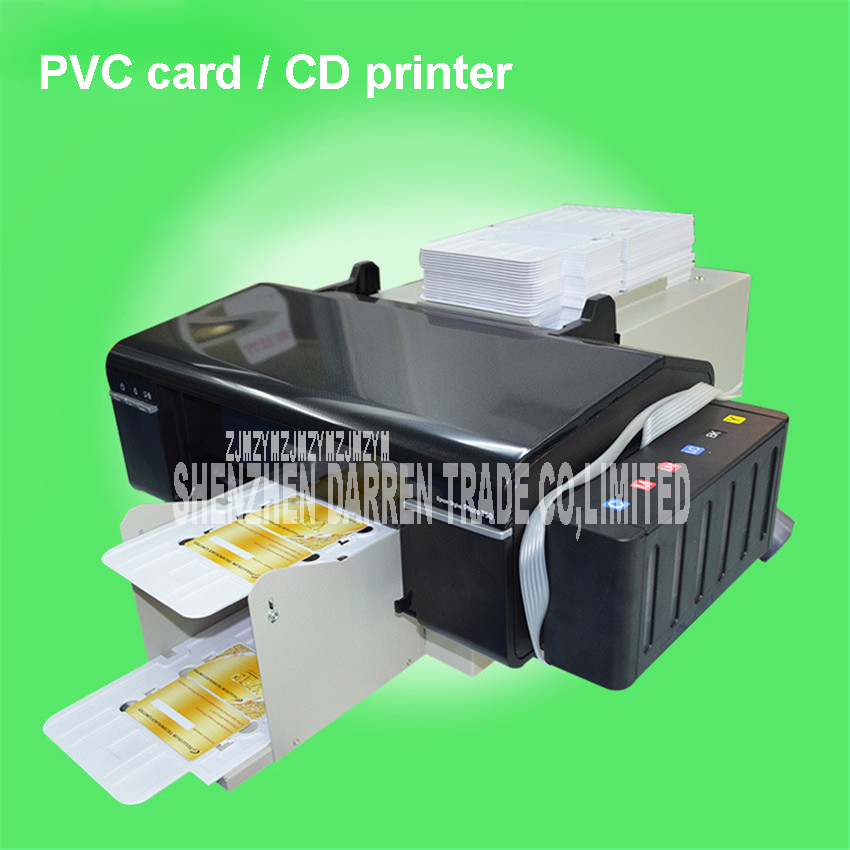 Automatic PVC ID card printer plus 50pcs pvc tray for pvc card printing machine PVC White Card/CD Print ordinary dye Use ink pvc gift card full color printing iso cr80 card pvc card manufacture 1000pcs lot