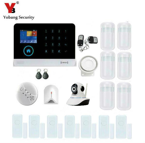 Yobang Security WIFI GSM RFID Wireless Security Alarm Smart APP Control Network Camera SMS Alarm System With Glass Break Sensor yobang security wifi gsm wireless pir home security sms alarm system glass break sensor smoke detector for home protection