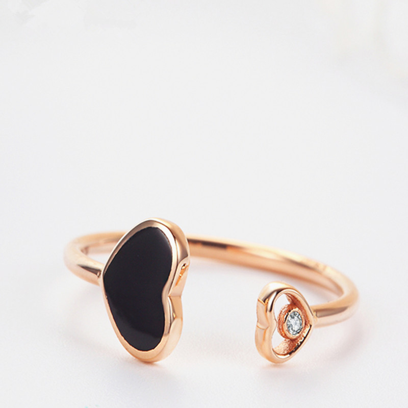 VOJEFEN Fashionable Black Agate 18K Gold Knuckle Adjustable Open Ring Fine Jewelry K Gold Double Heart Ring for Women Men in Rings from Jewelry Accessories