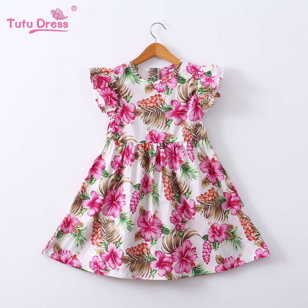 108a56a795032 Summer Floral Dress for Girls A-Line Print Cotton Short Sleeve Baby Girl  Dress 2019 Birthday Party Kid Clothes Baby Frock